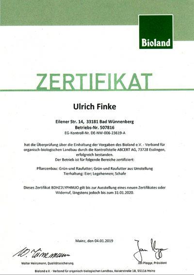 Zertifikat Hof Finke